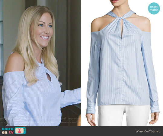 Collingwood Cold-Shoulder Long-Sleeve Top by Rag & Bone worn by Stephanie Hollman  on The Real Housewives of Dallas