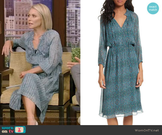 'Minnie' Floral Chiffon Dress by Rebecca Taylor worn by Kelly Ripa  on Live with Kelly & Ryan