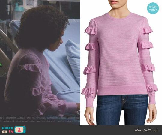 Ruffle Wool Sweater by Rebecca Taylor worn by Kelly McCreary on Greys Anatomy