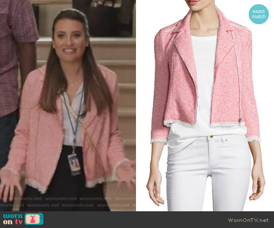 Summer Tweed Zip-Front Jacket by Rebecca Taylor worn by Lea Michele on The Mayor