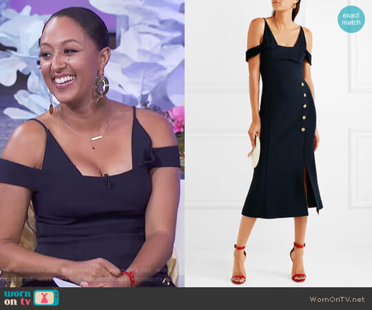 Beltran cold-shoulder crepe midi dress by Rebecca Vallance worn by Tamera Mowry on The Real