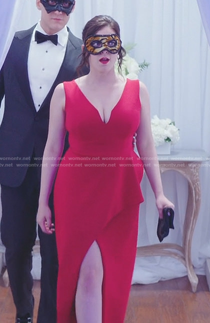 Rebecca's red sleeveless wrapped gown on Crazy Ex-Girlfriend