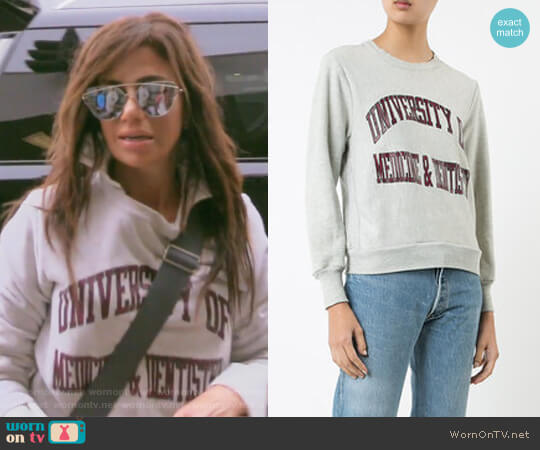 University of Medicine & Dentistry sweatshirt by Re/Done worn by Peggy Sulahian on The Real Housewives of Orange County