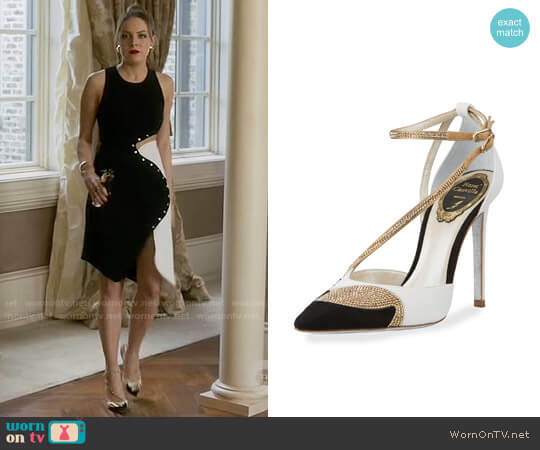 Rene Caovilla Snakeskin Asymmetric 105mm Pump worn by Elizabeth Gillies on Dynasty