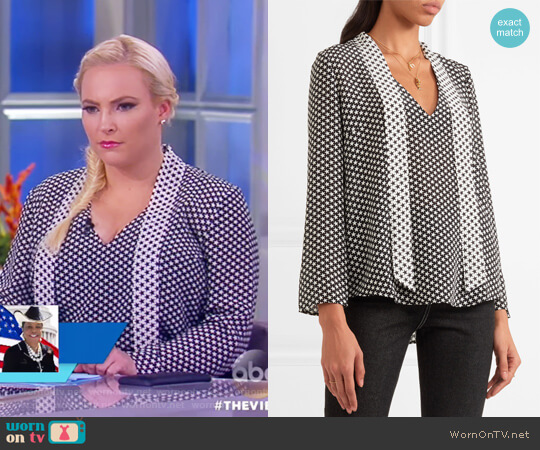 Pussy-bow Star-print Silk Crepe de Chine Blouse by Rixo London worn by Meghan McCain on The View