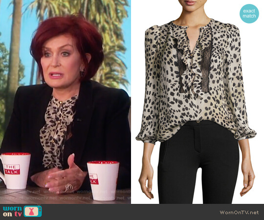 Cheetah-Print Lace-Trim Silk Blouse by Roberto Cavalli worn by Sharon Osbourne on The Talk