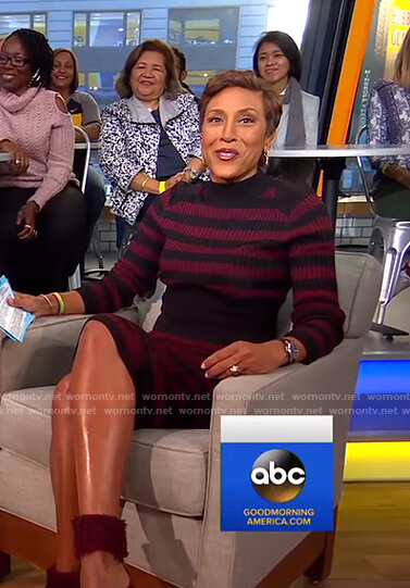 Robin's red and black striped knit dress on Good Morning America