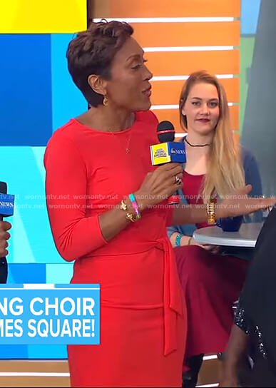 Robin's red tie waist dress on Good Morning America