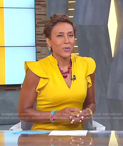 Robin's yellow ruffle sleeve dress on Good Morning America