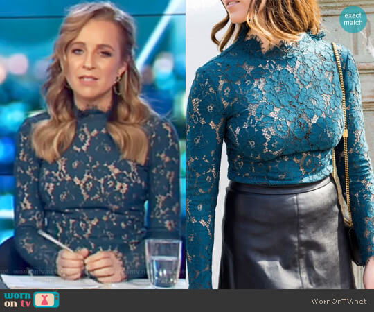 Lilliana Lace Top by Rodeo Show worn by Carrie Bickmore  on The Project