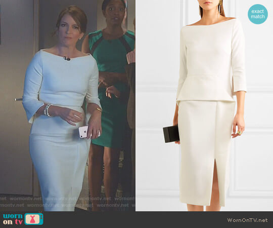 'Ardingly' Crepe Peplum Dress by Roland Mouret worn by Tina Fey on Great News
