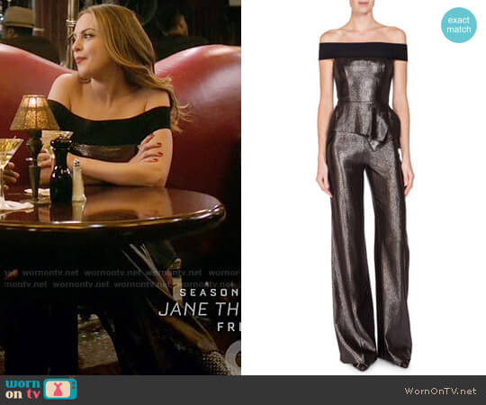 Roland Mouret Danielson Off-the-Shoulder Peplum Jumpsuit worn by Elizabeth Gillies on Dynasty