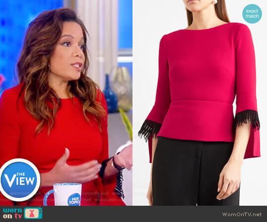 'Silsden' Fringed Wool-Crepe Top by Roland Mouret worn by Sunny Hostin on The View
