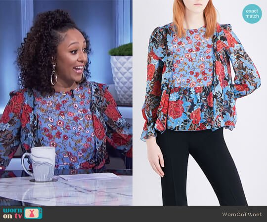 Floral-print silk crepe de chine blouse by See By Chloe worn by Tamera Mowry (Tamera Mowry) on The Real