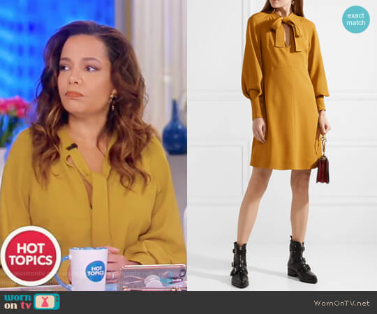 Pussy-bow Stretch-crepe Dress by See By Chloe worn by Sunny Hostin (Sunny Hostin) on The View