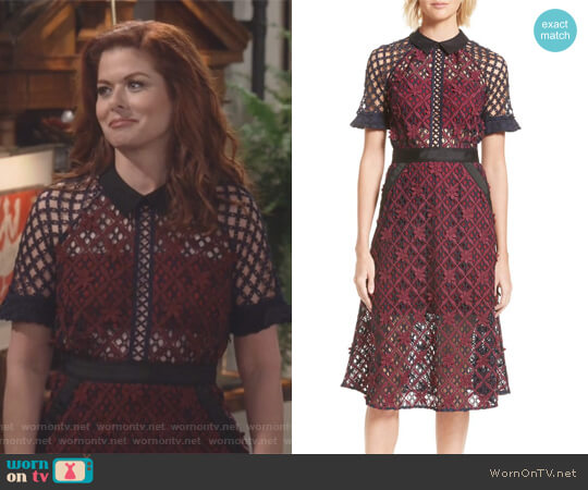 Floral Grid Midi Dress by Self Portrait worn by Debra Messing on Will & Grace