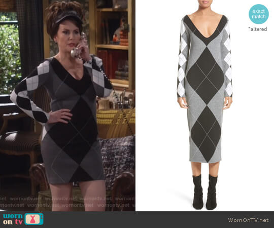 Argyle Sweater Dress by Stella McCartney worn by Megan Mullally on Will & Grace