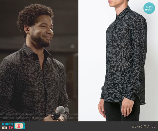 Je t'aime cursive print shirt by Saint Laurent worn by Jussie Smollett on Empire