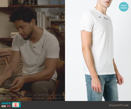 Star Print T-Shirt by Saint Laurent worn by Jussie Smollett on Empire