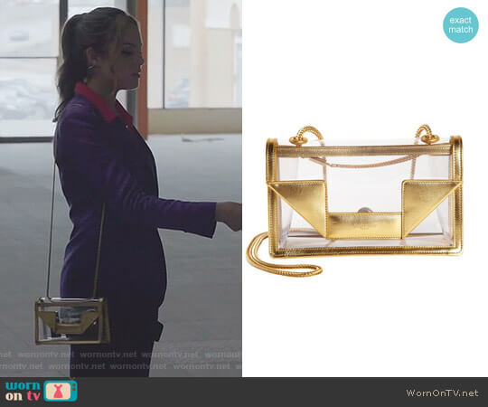 Transparent Mini Betty Bag by Saint Laurent worn by Elizabeth Gillies on Dynasty