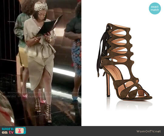 Samuele Failli Diane Suede Sandals worn by Cookie Lyon (Taraji P. Henson) on Empire