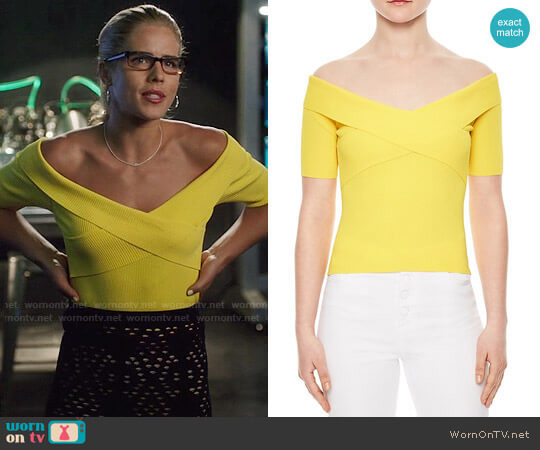 Sandro Galina Off-The-Shoulder Sweater worn by Felicity Smoak (Emily Bett Rickards) on Arrow