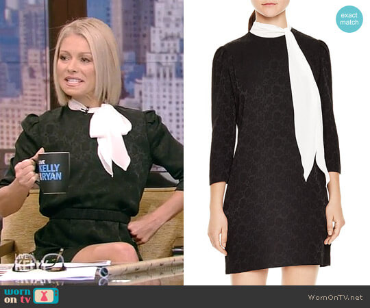 Ketty Rose-Print Mini Dress by Sandro worn by Kelly Ripa on Live with Kelly & Ryan