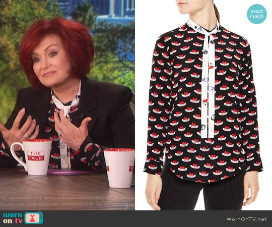 Maika Tattoo-Print Silk Shirt by Sandro worn by Sharon Osbourne  on The Talk