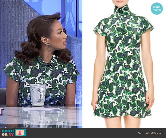 Tie Back Print Silk Dress by Sandro worn by Jeannie Mai  on The Real