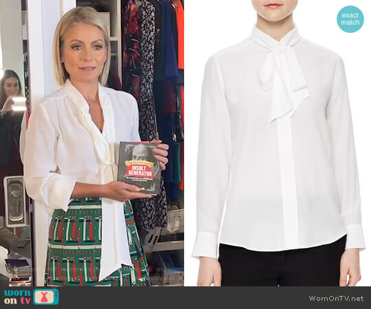 'Aline' Tie-Neck Silk Shirt by Sandro worn by Kelly Ripa on Live with Kelly & Ryan