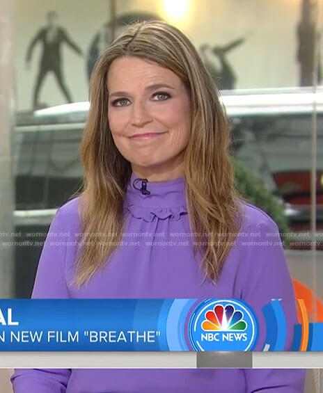 Savannah's purple ruffle mock neck top on Today