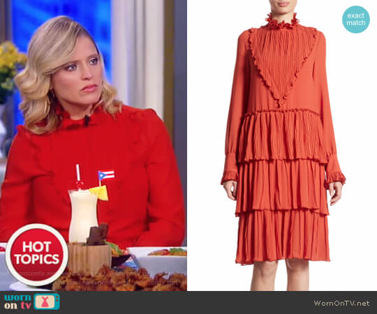 Tiered ruffle-trimmed crepe dress by See by Chloe worn by Sara Haines  on The View