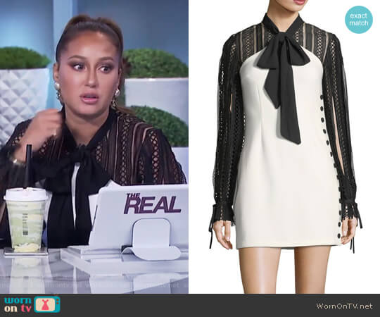 Two-Tone Long-Sleeve Crepe Mini Dress by Self Portrait worn by Adrienne Houghton  on The Real