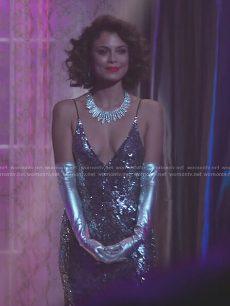Cristal's sequin v-neck gown on Dynasty