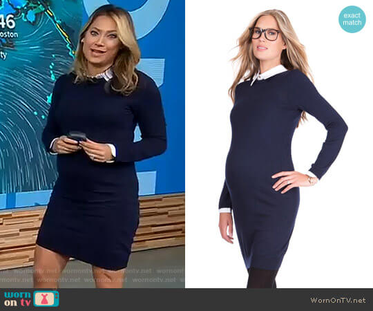 Knitted Maternity Dress with Collar by Seraphine Maternity worn by Ginger Zee on Good Morning America