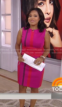 Sheinelle's pink colorblock sheath dress on Today