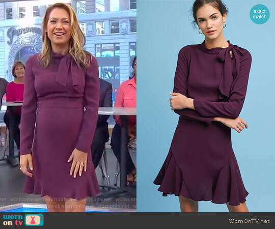 Ruffled Tie-Neck Dress by Shoshanna worn by Ginger Zee on Good Morning America