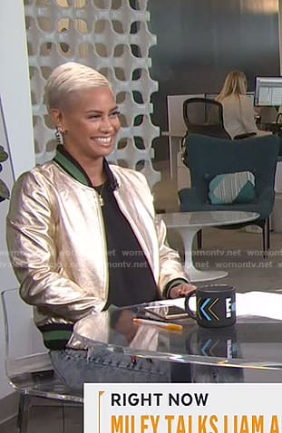Sibley's metallic bomber jacket on Live from E!