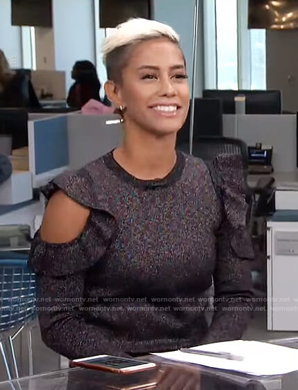 Sibley's glitter cold-shoulder ruffle top on Live from E!