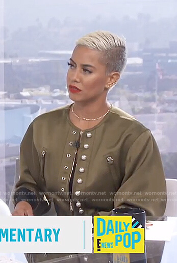 Sibley's khaki bomber jacket with pearls on E! News Daily Pop