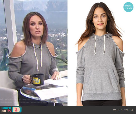 Soft Cotton Cold Shoulder Hoodie by Splendid worn by Catt Sadler  on E! News