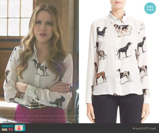 Dog Print Silk Blouse by Stella McCartney worn by Fallon Carrington (Elizabeth Gillies) on Dynasty