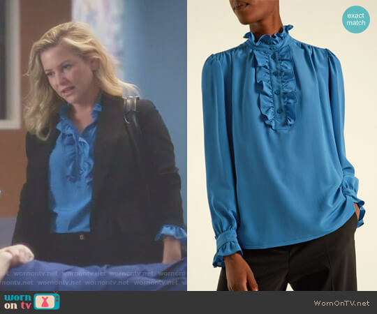 'Meredith' Ruffle-Trimmed Silk Blouse by Stella McCartney worn by Jessica Capshaw on Greys Anatomy