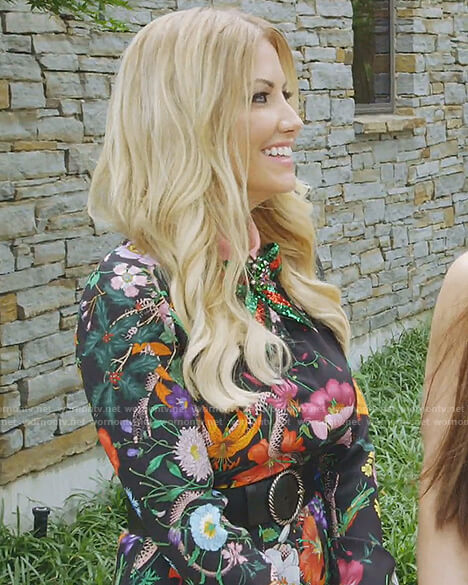 Stephanie's black flower and snake print dress on The Real housewives of Dallas