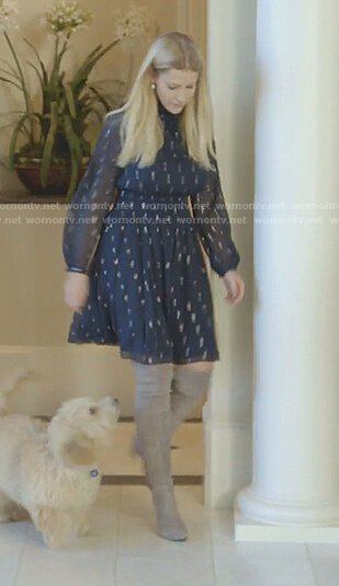 Stephanie's navy metallic chiffon dress on The Real Housewives of Dallas