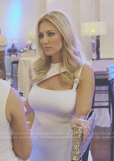 Stephanie's white cutout midi dress on The Real Housewives of Dallas