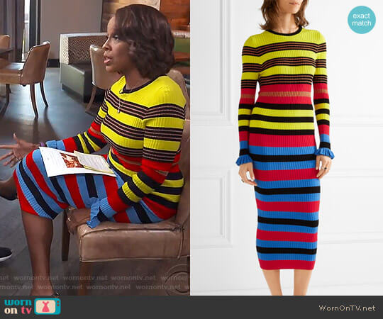 Striped ribbed-Knit Midi Dress by Opening Ceremony worn by Gayle King  on CBS This Morning