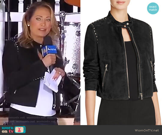 Studded Suede Moto Jacket by Theory worn by Ginger Zee  on Good Morning America