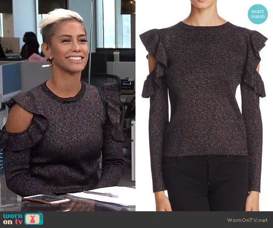 Metallic Cold-Shoulder Sweater by Sunset & Spring worn by Sibley Scoles on E! News