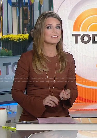 Savannah's brown asymmetric bell sleeve dress on Today